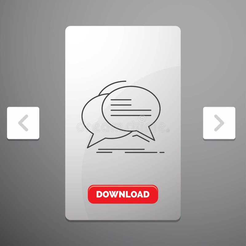 Bel, praatje, mededeling, toespraak, het Pictogram van de besprekingslijn in Carousal het Ontwerp van de Pagineringschuif & Rode  stock illustratie