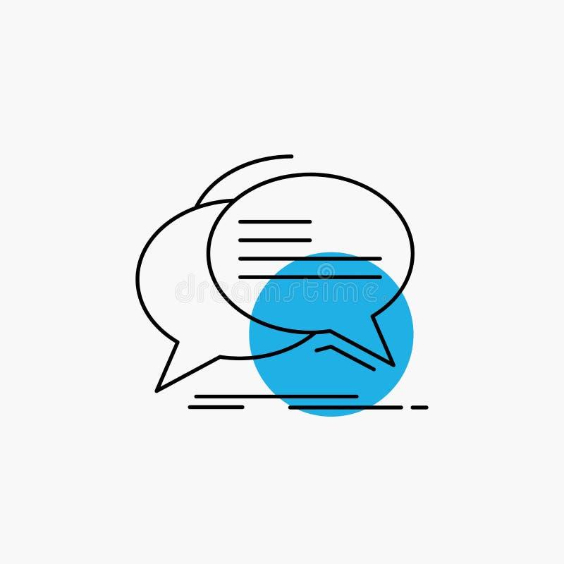 Bel, praatje, mededeling, toespraak, het Pictogram van de besprekingslijn vector illustratie