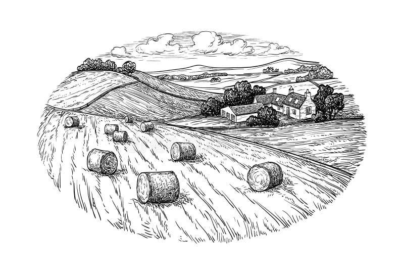 bel siana krajobraz wiejski royalty ilustracja