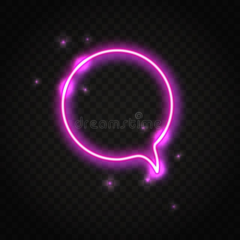 Bel van de neon de roze ronde toespraak met ruimte voor tekst royalty-vrije illustratie