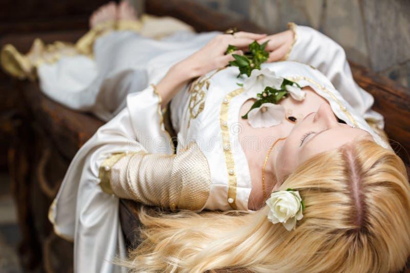 Bela Adormecida que encontra-se na tabela imagens de stock royalty free