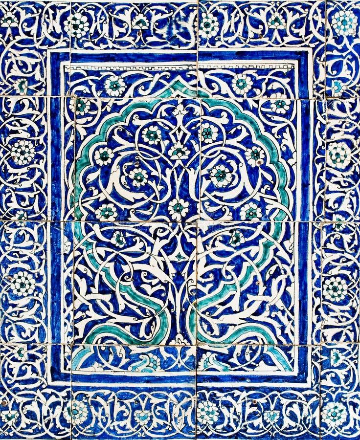 belade med tegel orientaliska prydnadar för bakgrund royaltyfri illustrationer