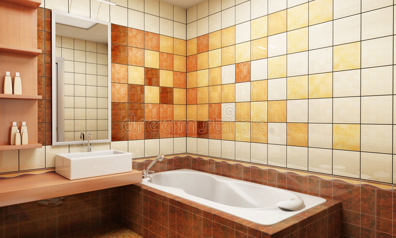 belagd med tegel badrumdesign royaltyfria bilder