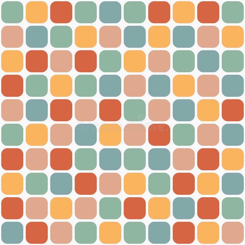 Belagd med tegel sömlös modell av rundade fyrkanter i retro färger vektor illustrationer
