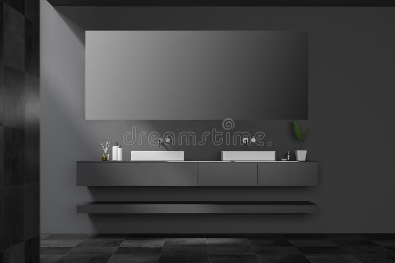 Belagd med tegel svart dubbel badrumvask med spegeln royaltyfri illustrationer