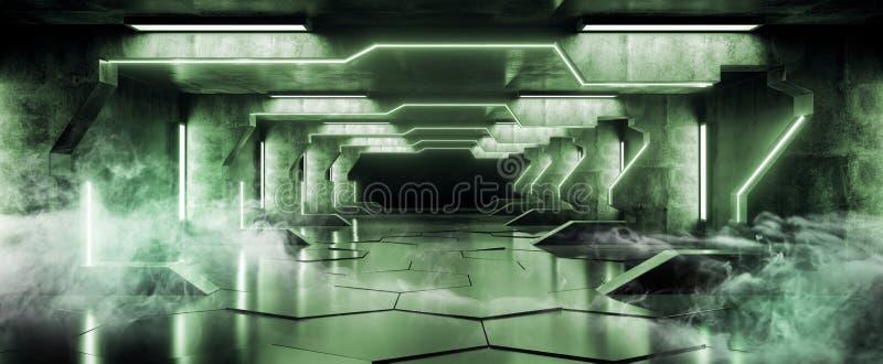 Belagt med tegel Hall Corridor Tunnel Grunge Concrete för grönt futuristiskt för triangel för rök glödande mörkt långt stort främ stock illustrationer