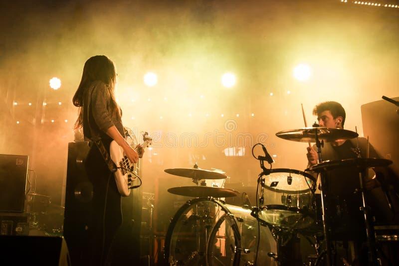 Belako (band) in concert at Tibidabo Live Festival. BARCELONA - SEP 5: Belako (band) in concert at Tibidabo Live Festival on September 5, 2015 in Barcelona stock photo