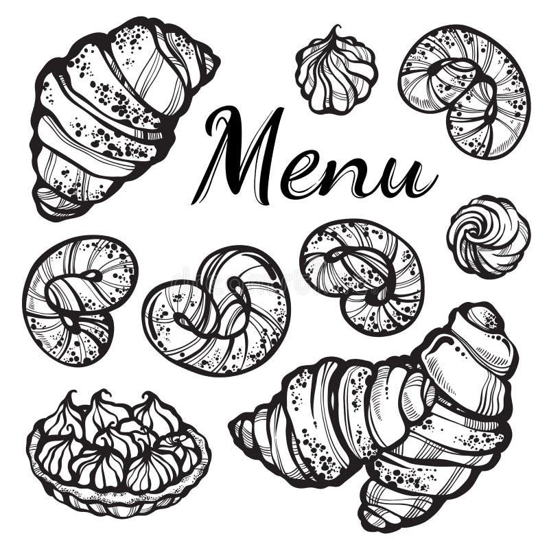 Belamente coleção desenhado à mão das sobremesas Vector os ícones da padaria, elementos do alimento do vintage no estilo linear i ilustração stock