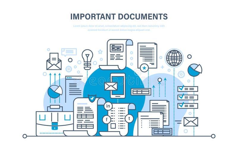 Belangrijk documentenconcept Bedrijfsdocumenten, bedrijfsrekeningen, die meldend dossiers werken stock illustratie