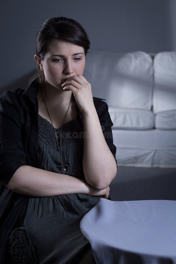 Belangrijke depressie na rouw stock foto