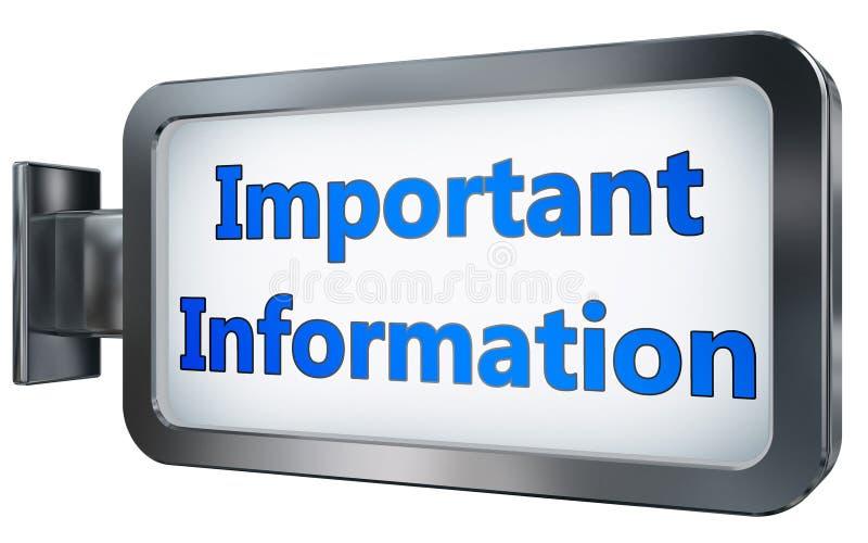Belangrijke Informatie over aanplakbordachtergrond vector illustratie