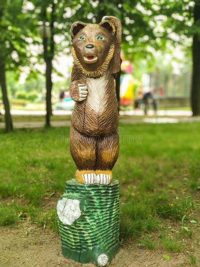 Belarus, Bobruisk - August 15, 2019: Sculpture - Bear royalty free stock photography