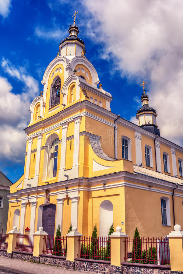 Belarus: Boris and Gleb Orthodox Church in Navahrudak, Naugardukas, Nowogrodek, Novogrudok. In the summer stock image