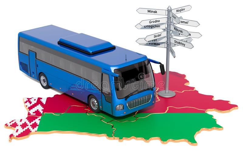 Belarus Bus Tours concept. 3D rendering. Isolated on white background vector illustration