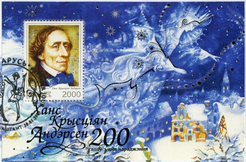 BELARUS - 2005: shows Hans Christian Andersen 1805-1875, writer royalty free stock image