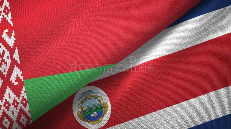 Belarus and Costa Rica two flags textile cloth, fabric texture. Belarus and Costa Rica flags together textile cloth, fabric texture vector illustration