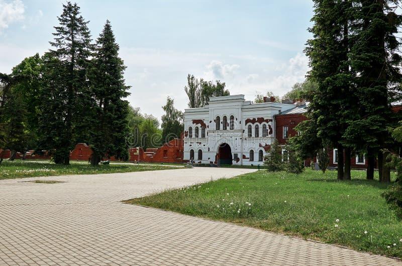 belarus Das Haus wurde durch das Schießen in der Brest-Festung beschädigt 23. Mai 2017 lizenzfreies stockbild