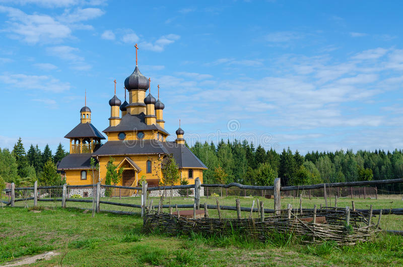 Belarus, Dudutki. Church of the Holy Prophet John the Baptist. Belarus, Dudutki, museum of ancient national crafts and technologies. Church of the Holy Prophet stock image