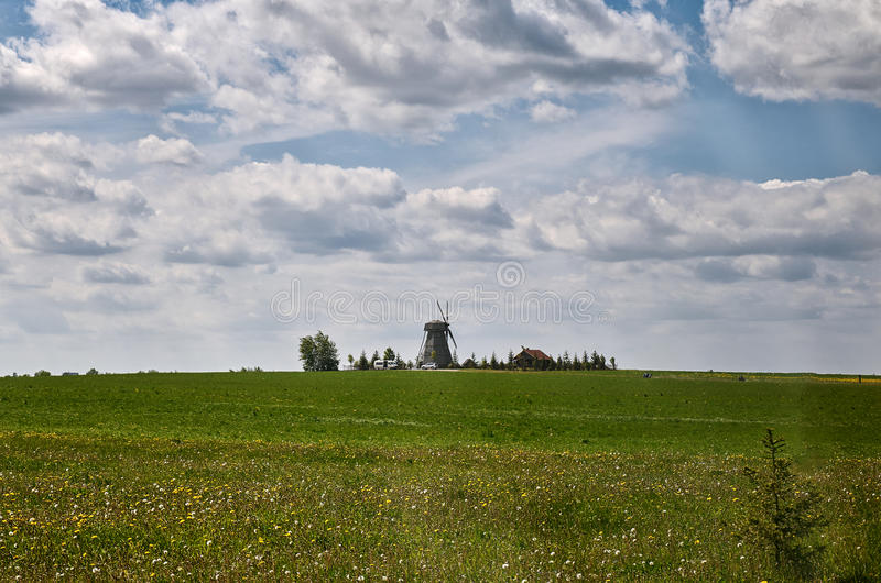 Belarus. `Dudutki` is a museum complex of ancient handicrafts in Belarus. The old mill. May 21, 2017 stock photography