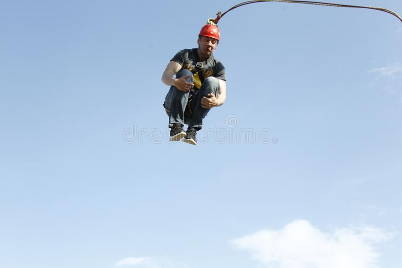 A terrible jump from a huge height royalty free stock image