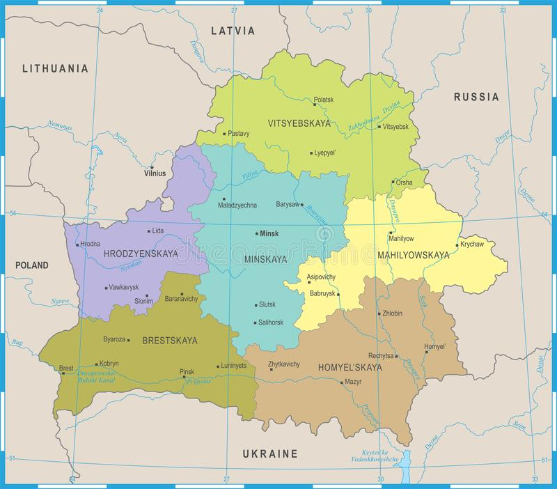 Belarus Map Detailed Vector Illustration Stock Illustration