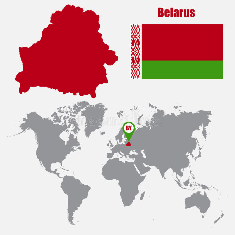 Belarus Map On A World Map With Flag And Map Pointer Vector