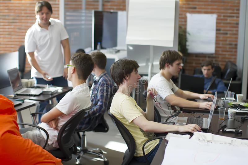 Programmers at work royalty free stock photo