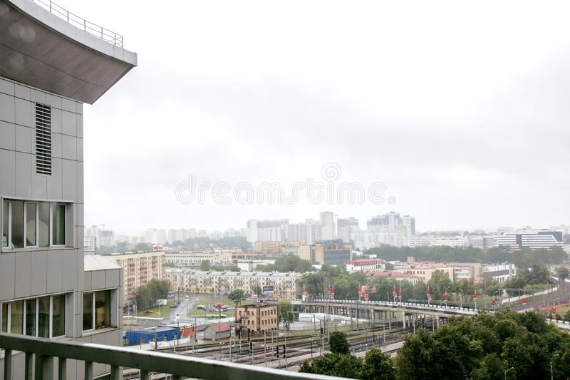BELARUS, MINSK - JULY 01, 2018: View from the window to the city royalty free stock photos