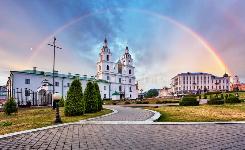Belarus - Minsk with Orthodox Cathedral with rainbow royalty free stock images