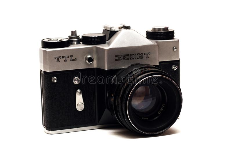 Belarus, Novopolotsk - JULY 13, 2019: Retro camera zenith isolated on white background stock photography