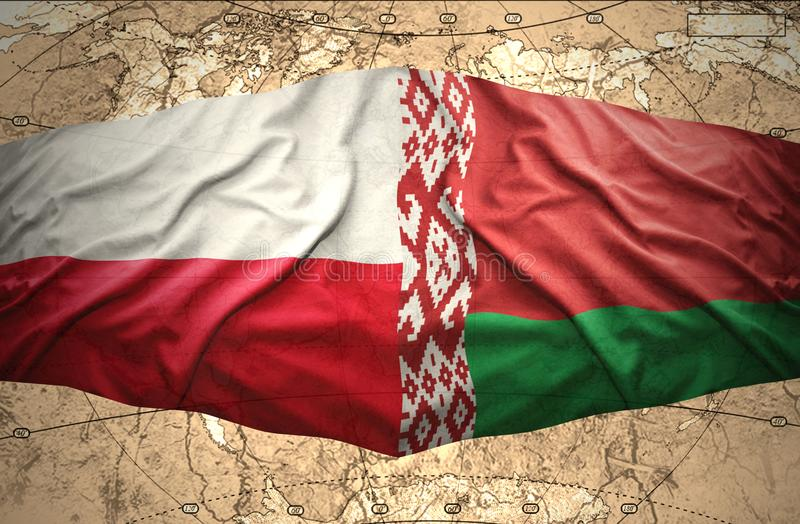 Belarus and Poland. Waving Belorussian and Polish flags of the political map of the world royalty free illustration