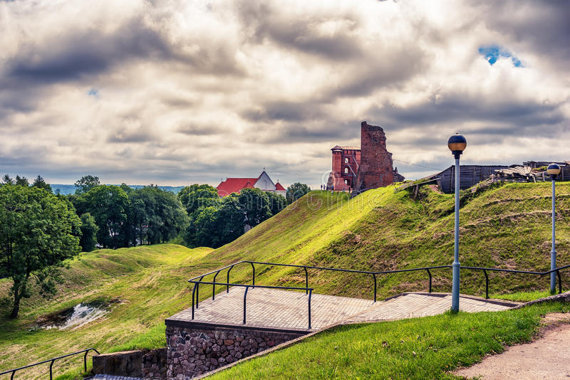 Belarus: ruins of Navahrudak, Naugardukas, Nowogrodek, Novogrudok castle. In the summer royalty free stock photo