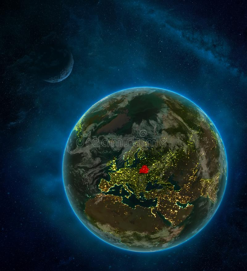 Belarus from space on Earth at night surrounded by space with Moon and Milky Way. Detailed planet with city lights and clouds. 3D. Illustration. Elements of vector illustration