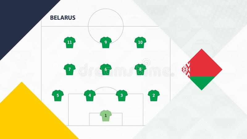 Belarus team preferred system formation 4-3-3, Belarus football team background for European soccer competition.  royalty free illustration