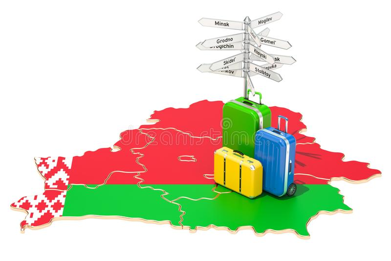 Belarus travel concept. Map with suitcases and signpost, 3D rend. Belarus travel concept. Map with suitcases and signpost, 3D royalty free illustration