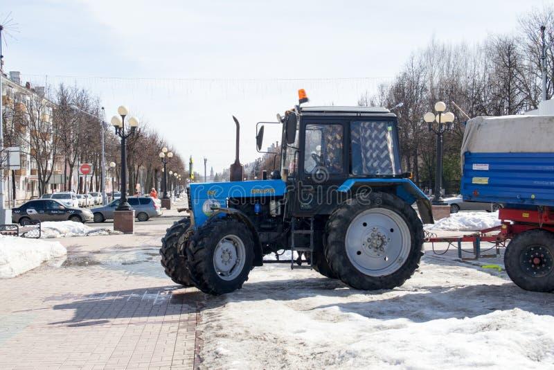 Belarus is wheeled tractor. Yoshkar-Ola, Russia - April 2019 Belarus is wheeled tractor, produced since 1950 at Minsk Tractor in Belarus stock images
