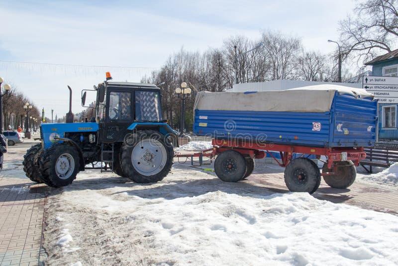 Belarus is wheeled tractor. Yoshkar-Ola, Russia - April 2019 Belarus is wheeled tractor, produced since 1950 at Minsk Tractor in Belarus stock image