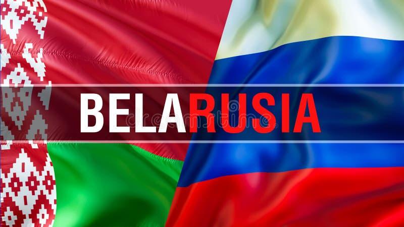 BelaRUSIA på Ryssland och Vitryssland flaggor Vinkande flaggadesign, tolkning 3D Ryssland Vitryssland flaggabild, tapetbild ryss vektor illustrationer