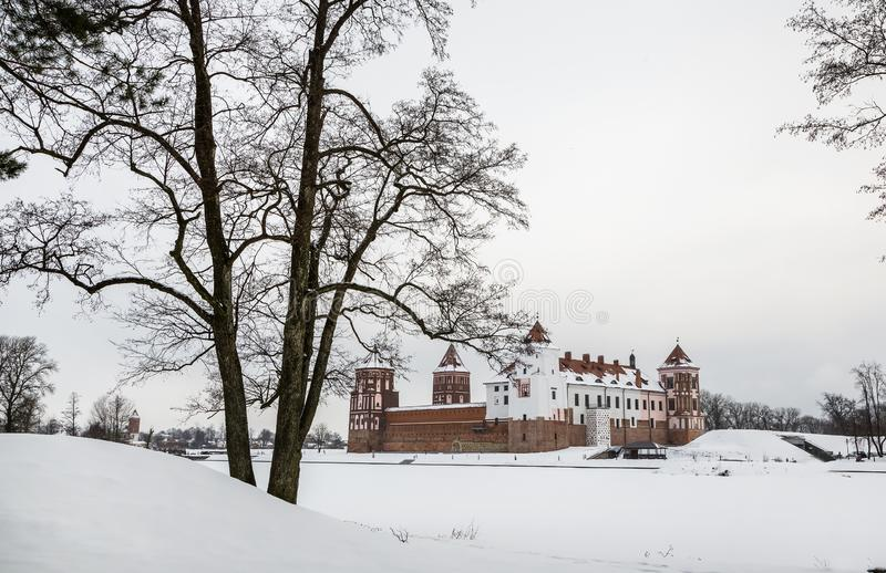 The Mir Castle. winter. Belarusian attraction Mir Castle covered with snow in the winter season royalty free stock photography