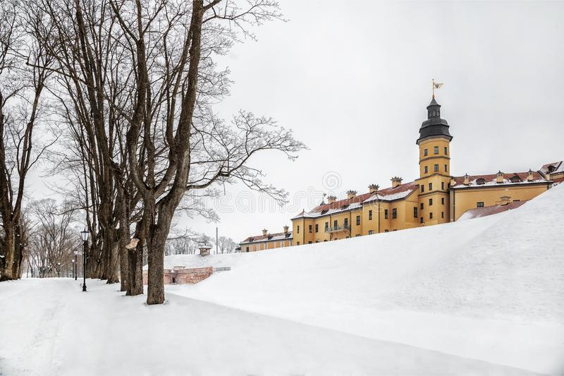 Nesvizh Castle. winter. Belarusian attraction Nesvizh castle covered with snow in the winter season royalty free stock images