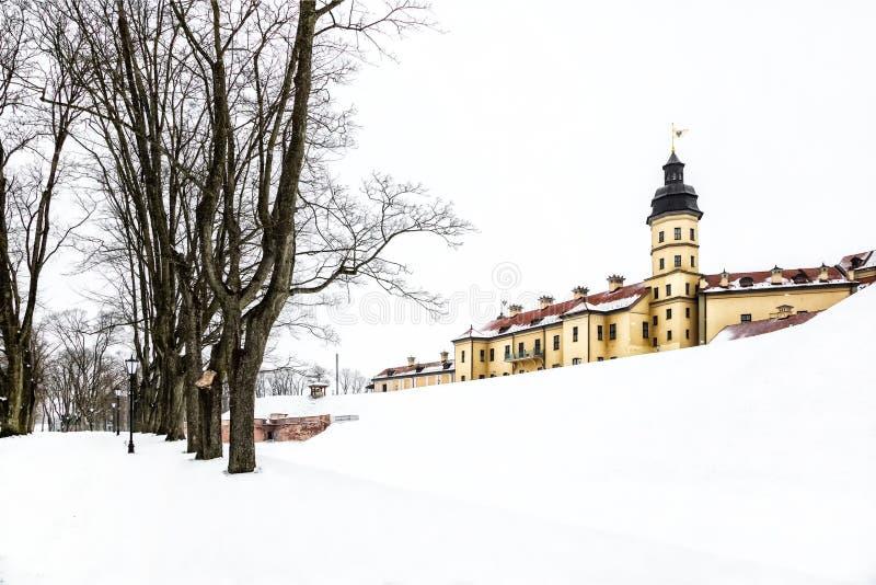 Nesvizh Castle. winter. Belarusian attraction Nesvizh castle covered with snow in the winter season stock photos