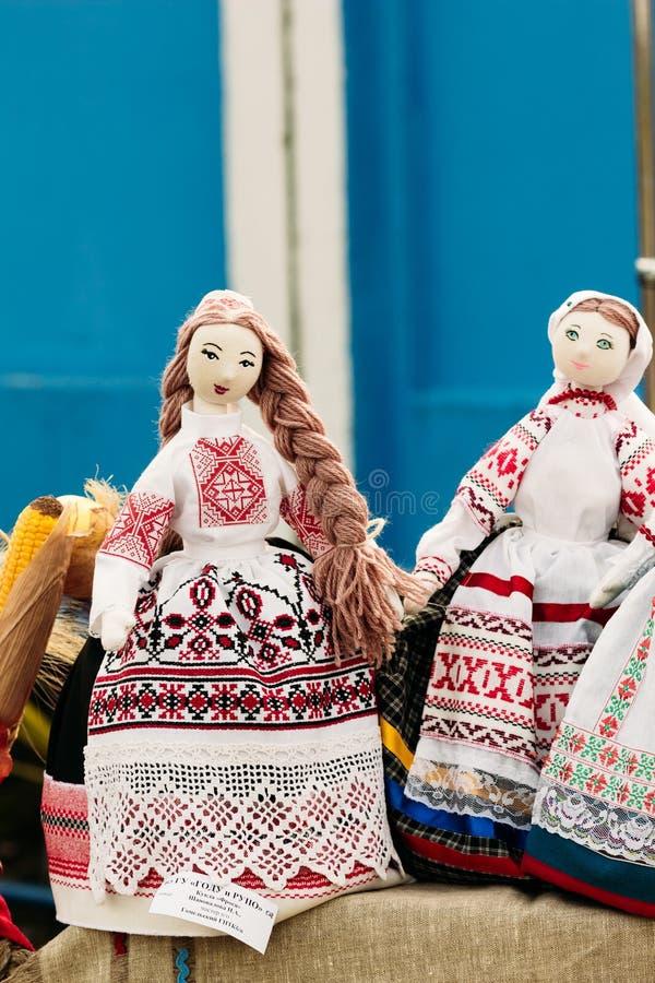 Belarusian Folk toy. Doll girl. Beautiful folk Belarusian National doll. A classic souvenir from Belarus stock photo