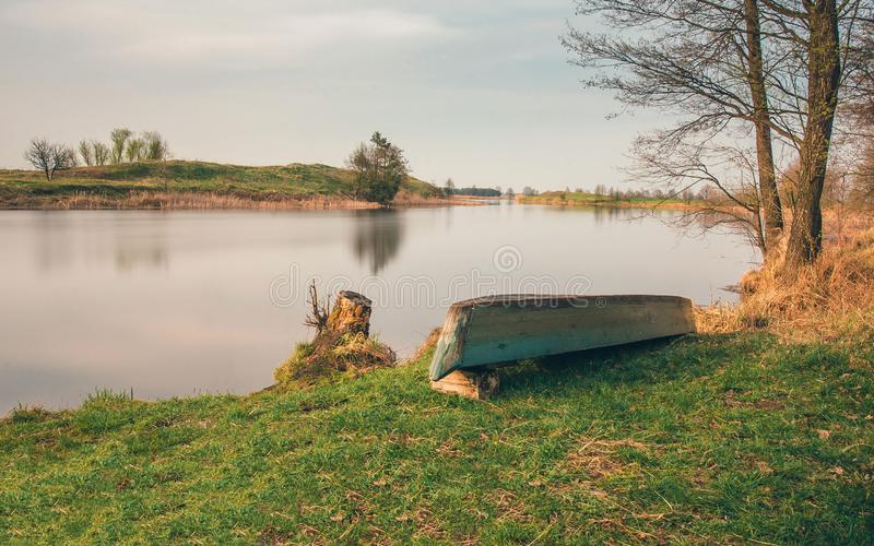 Belarusian landscape. The Pina River flows through the Polesye Brest region. royalty free stock photo