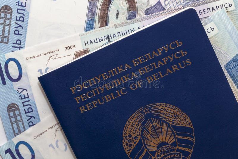 Belarusian passport and money stock image