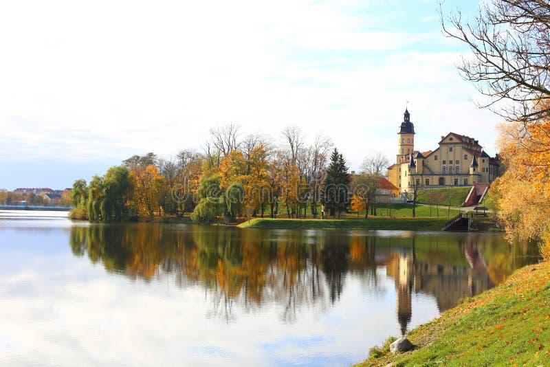 Belarusian tourist landmark attraction Nesvizh Castle - medieval castle in Nesvizh, Belarus reflection in water. beautiful autumn. Landscape royalty free stock photos