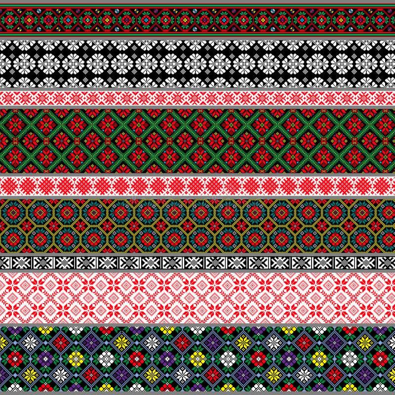 Belarusian tradycyjni wzory, ornamenty Set 1 obrazy stock