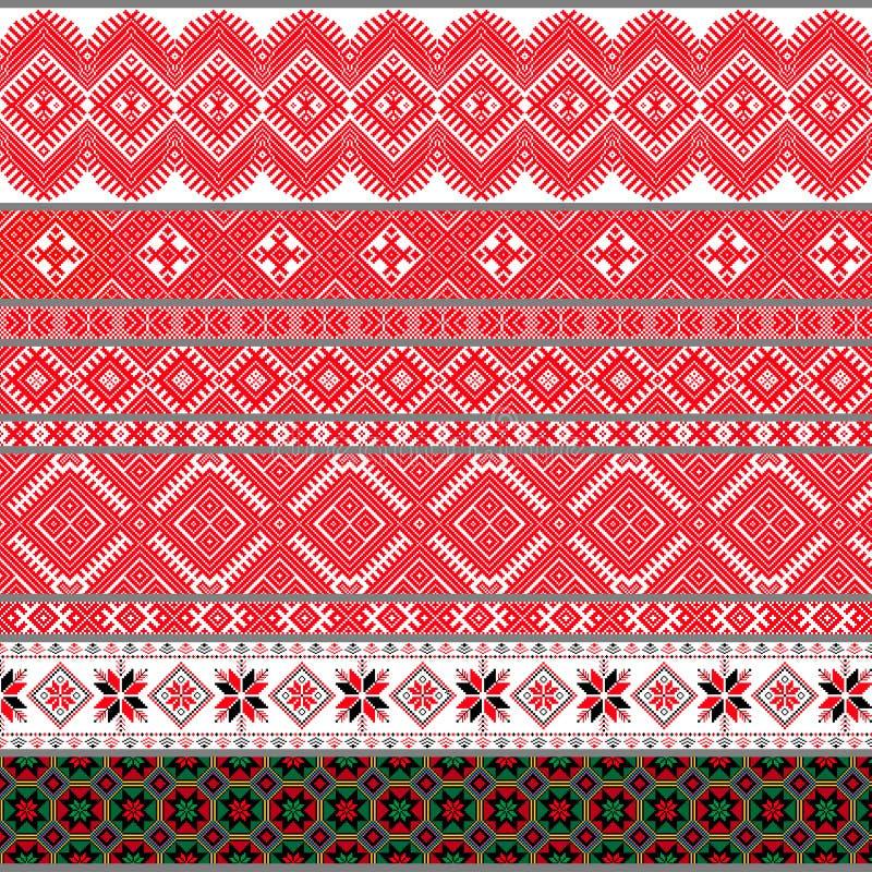 Belarusian tradycyjni wzory, ornamenty Set 4 obraz royalty free