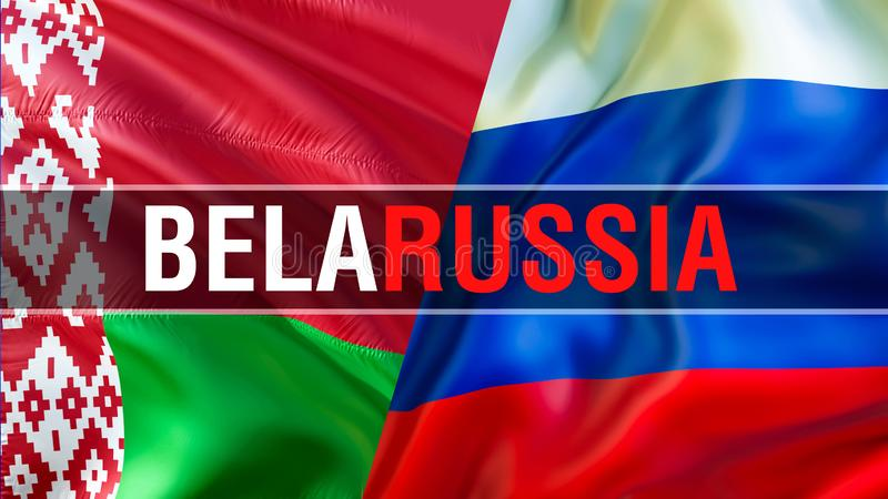 BelaRUSSIA στις λευκορωσικές σημαίες της Ρωσίας και Σχέδιο σημαιών κυματισμού, τρισδιάστατη απόδοση Λευκορωσική εικόνα σημαιών τη διανυσματική απεικόνιση