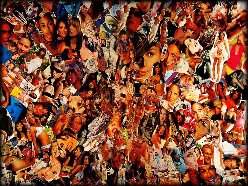 Belas artes superiores famosas do papel de parede do fundo da colagem dos modelos em todo o mundo imagem de stock