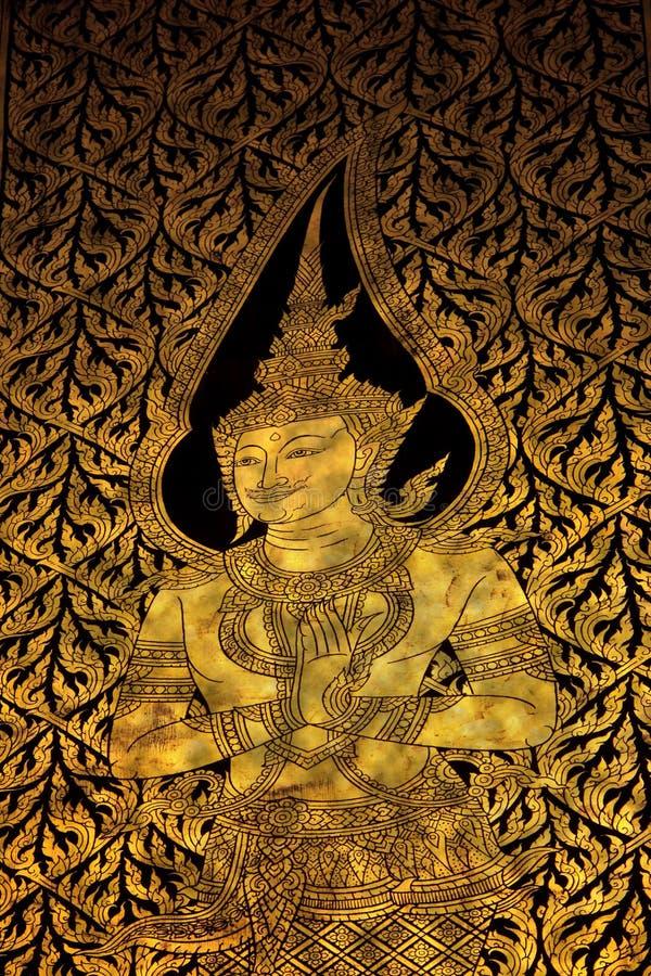 Belas artes tailandesas que pintam na porta do templo fotografia de stock royalty free